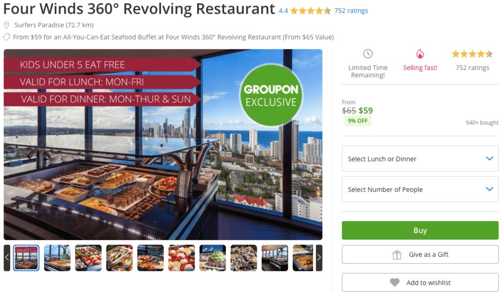 グルーポン サーファーズパラダイスのレストラン割引チケットの例