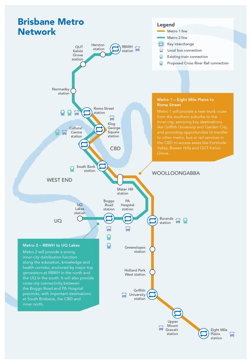ブリスベン メトロ ルート Brisbane Metro